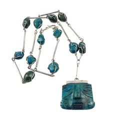 Silver and Peruvian Turquoise Necklace - 1970s