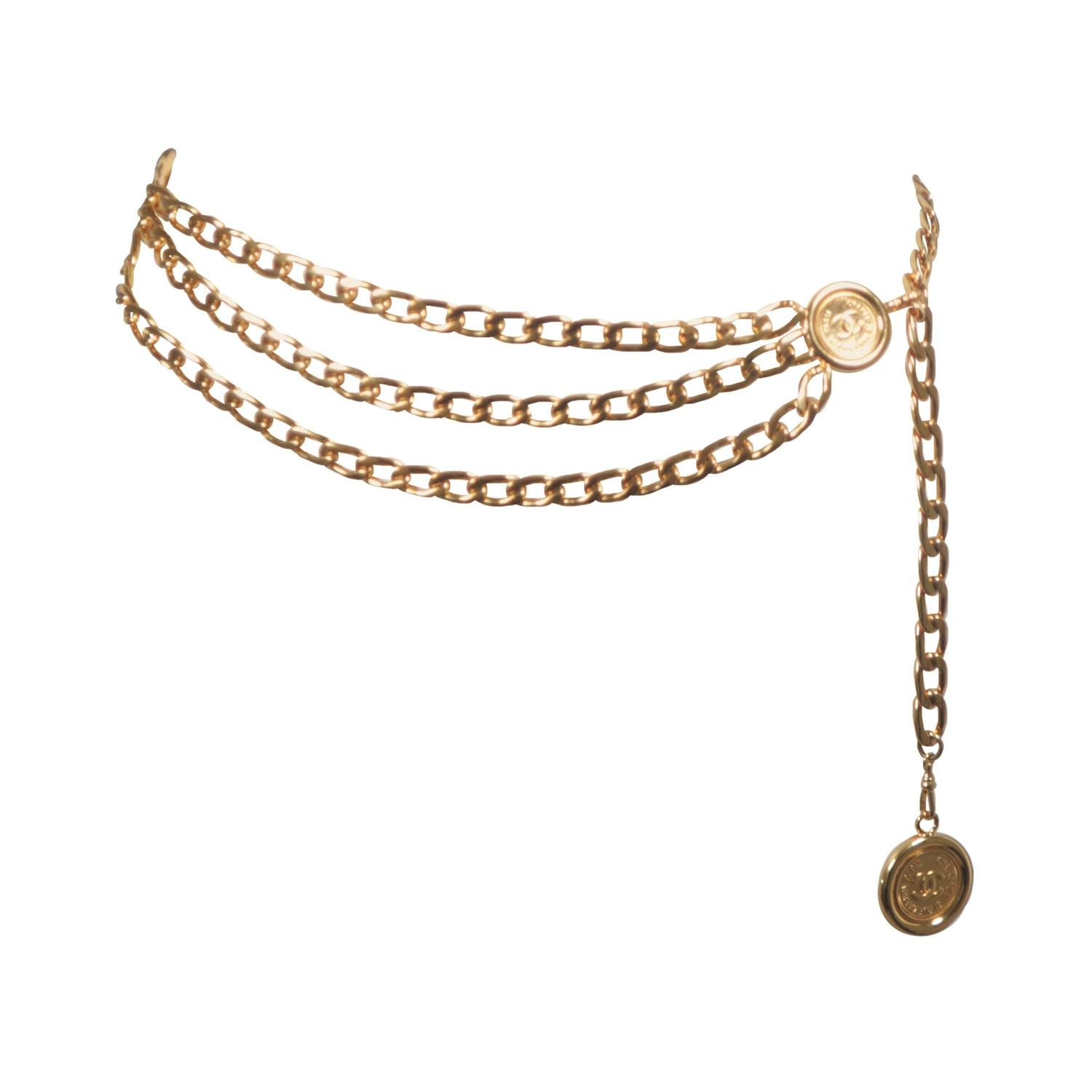 chanel belt. chanel gold tone triple strand detail chain link belt necklace open size at 1stdibs chanel
