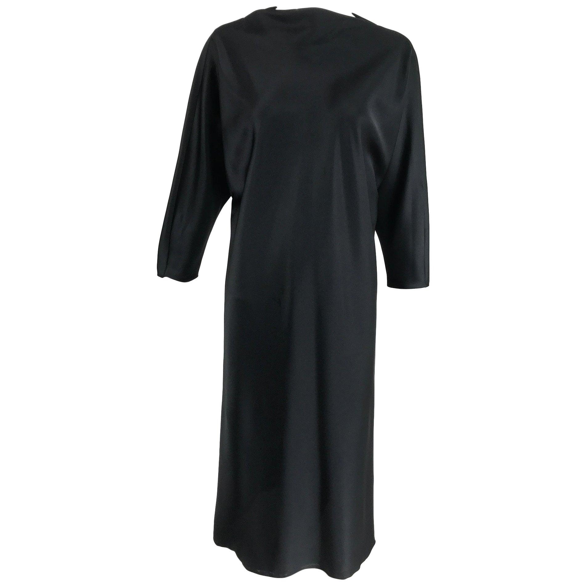 Jackie Rogers Classic Black Satin Bias Cut Dress