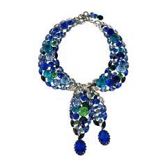 Robert Sorrell Blue Swarovski Crystal Tie Necklace