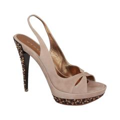 Casadei Tan Suede Open-Toe Platform Slingback Heels w/ Swarovski Crystals - 11