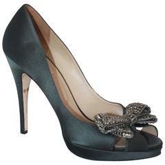 Valentino Dark Grey Silk Peep Toe Pumps w/ Rhinestone Front Bow - 41