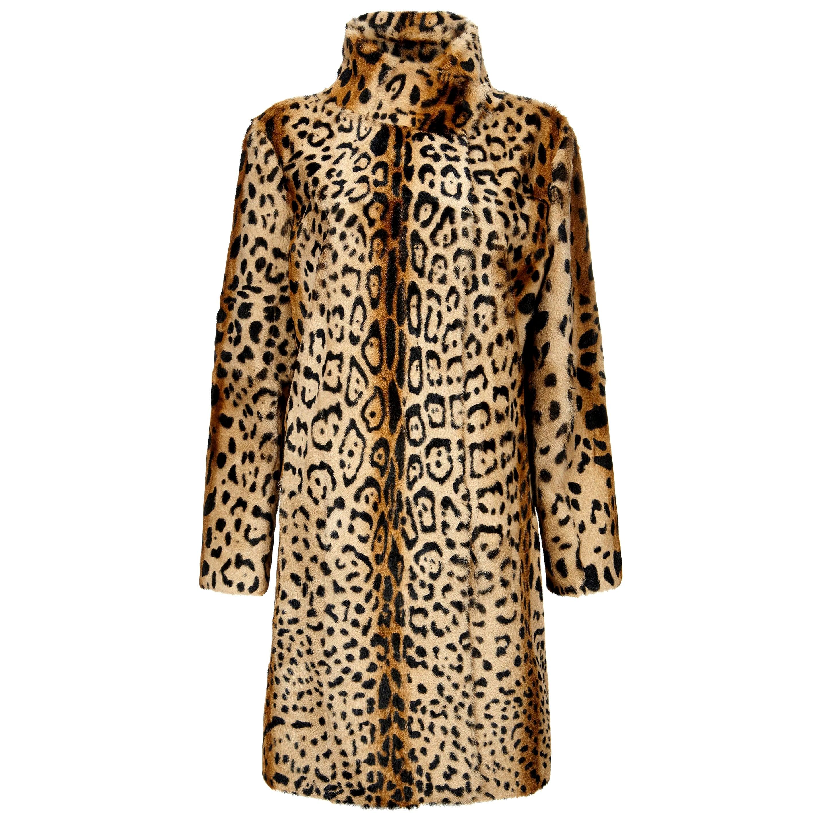 Verheyen London High Collar Leopard Print Coat Natural Goat Hair Fur Size uk 14