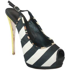 Guiseppe Zanotti Black & White Canvas w/ Yellow Python Platform Slingbacks - 41