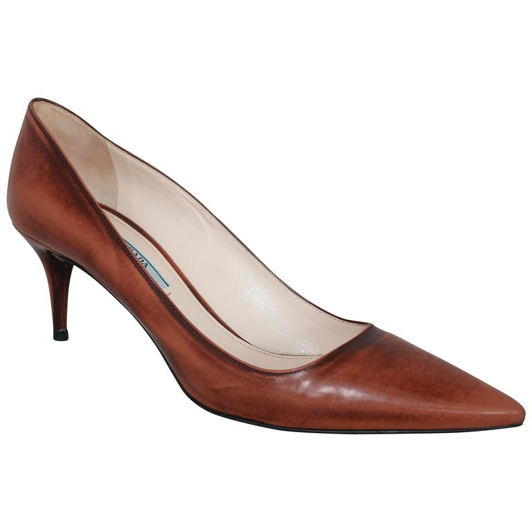 Prada Brown Unfinished Patent Pointed Toe Low Heels - 41