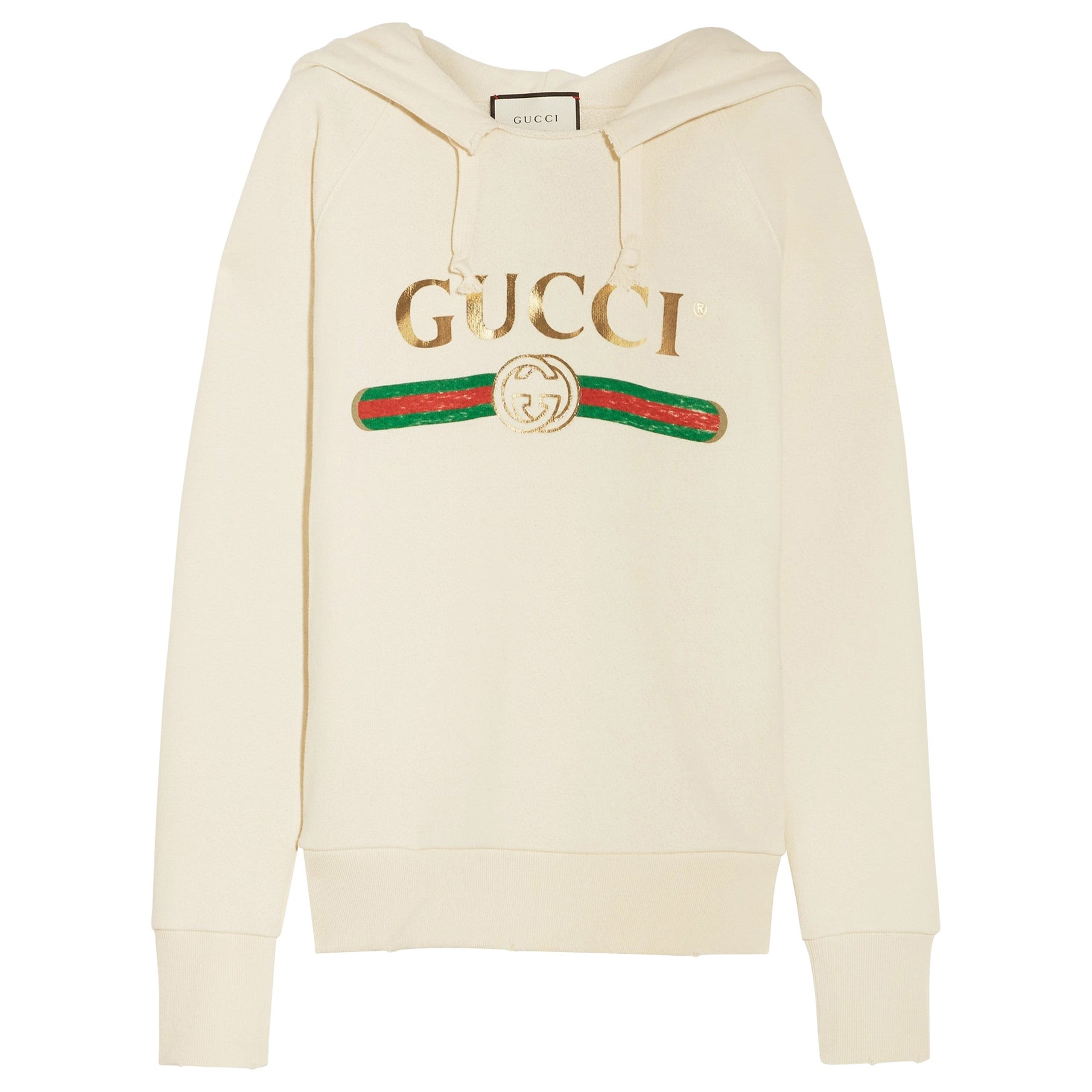 GUCCI white cotton BLIND FOR LOVE EMBROIDERED LOGO HODDIE Sweater XS