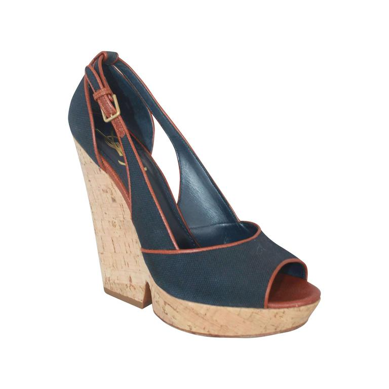 a98dc52b6b6 YSL Navy and Brown Deuville Canvas Wedge Sandals - 40.5 For Sale at ...