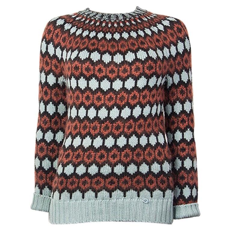 GUCCI cognac & blue wool & mohair Crewneck Sweater S