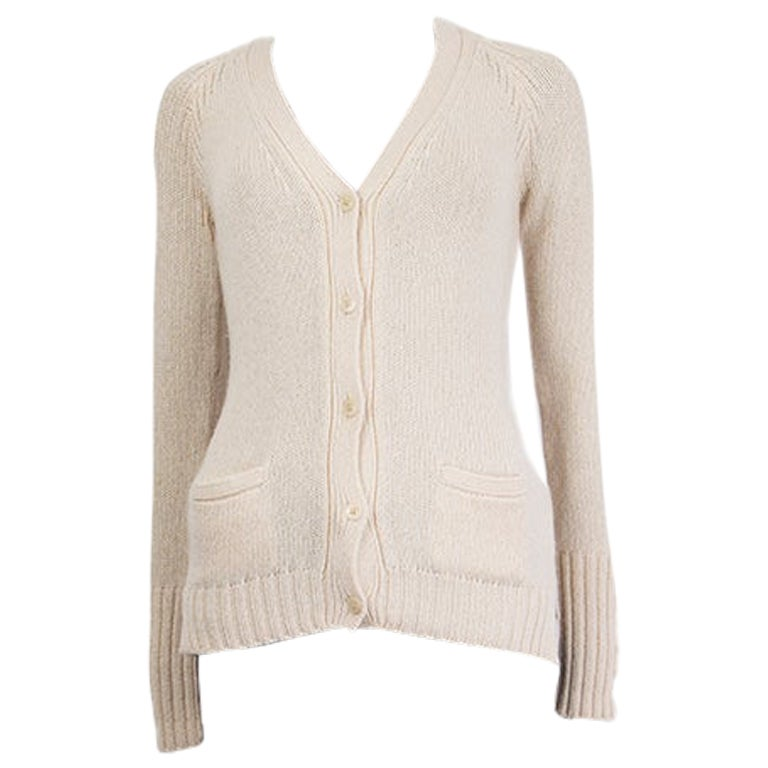 LORO PIANA cream white cashmere V-Neck Cardigan Sweater 38 XS