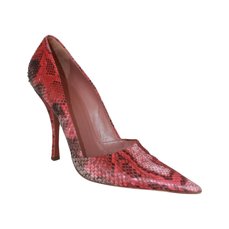 816ab1aa5 Alaia Red and Black Snake Skin Pointed Toe Pumps - 41 For Sale at ...