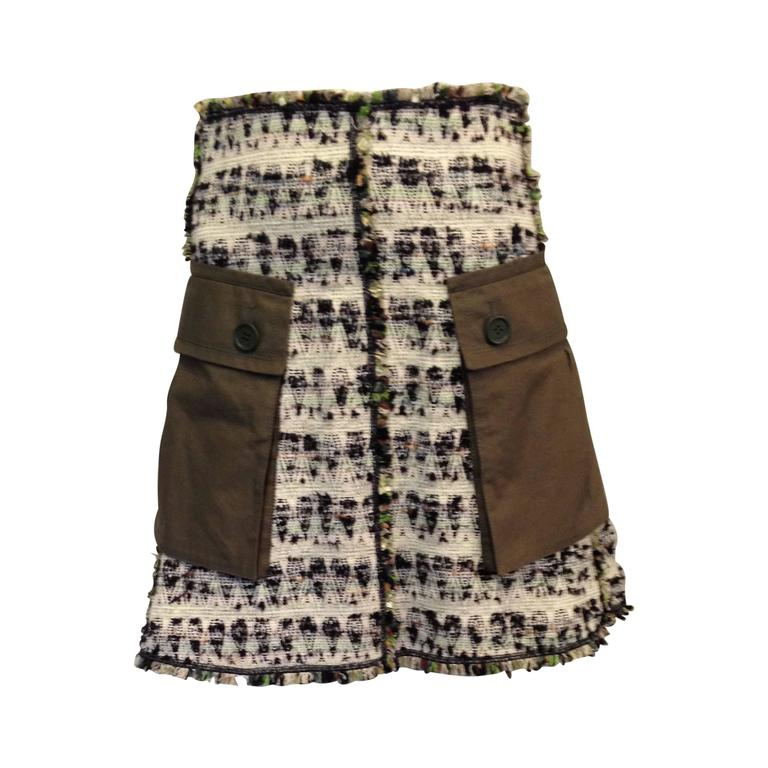 Louis Vuitton Cream and Olive Tweed Skirt Size 38 (6) 1