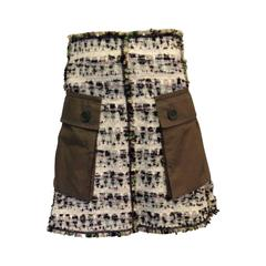 Louis Vuitton Cream and Olive Tweed Skirt Size 38 (6)