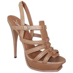YSL Tan Leather Strappy Platform Heel w/ Slingback Strap - 41