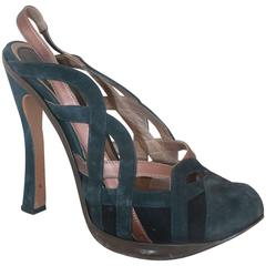 Marni Navy & Brown Woven Suede Pumps w/ Slingback Strap & Removable Bows - 40