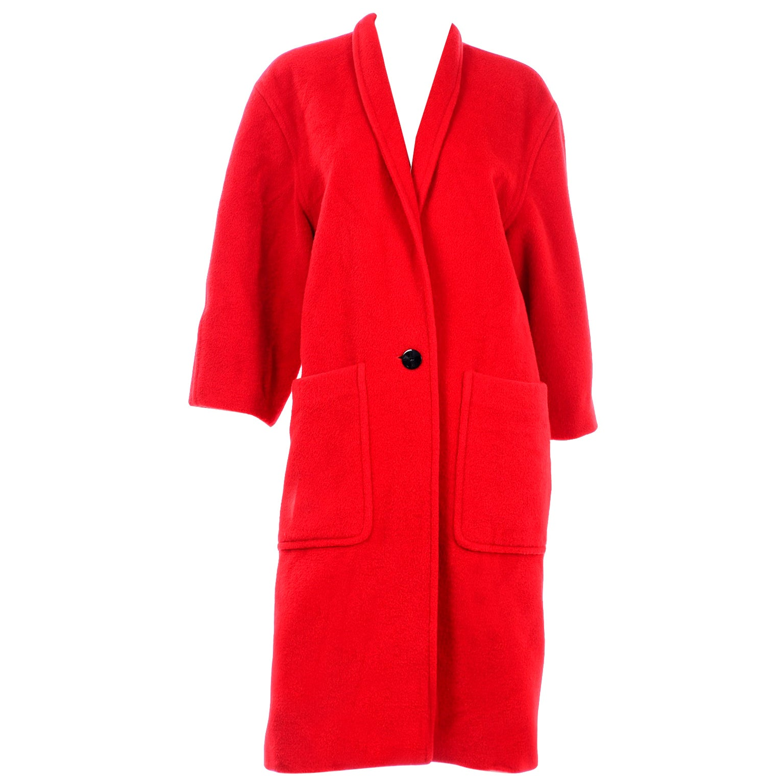 Vintage Escada Margaretha Ley Red Mohair Alpaca Wool Coat With Pockets