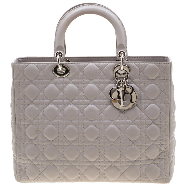 Dior Grey Leather Large Lady Dior Tote