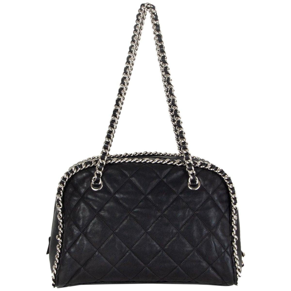 CHANEL black leather CHAIN AROUND BOWLER Shoulder Bag