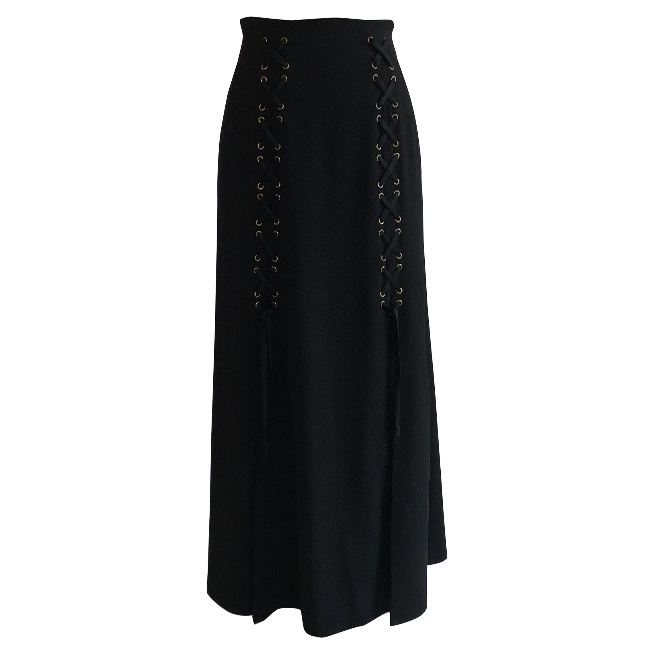 Vintage Moschino Cheap & Chic Black Lace Up Detail Maxi Skirt 1990s