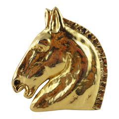 Hermes Vintage Massive Horse Head Brooch