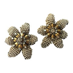 "Very large seed pearl and rose montes ""Flower"" earrings, Miriam Haskell, 1950s"
