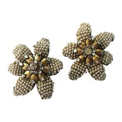 """1950s Miriam Haskell seed pearl and rose montes """"Flower"""" earrings"""