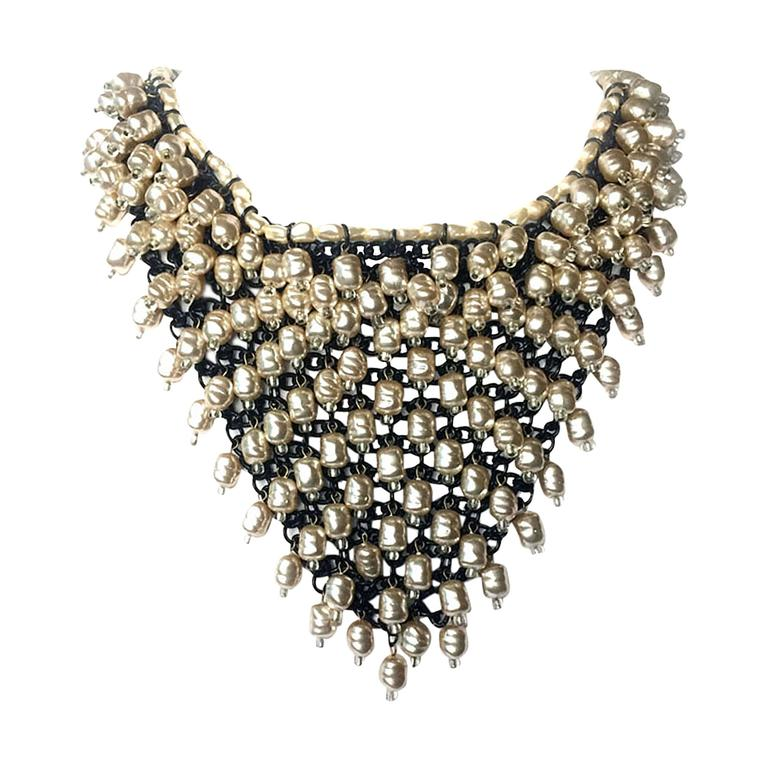 1960s large baroque pearl and crystal 'bib' necklace 1