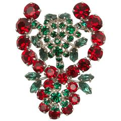 1959 Christian Dior Red and Green Stone Brooch