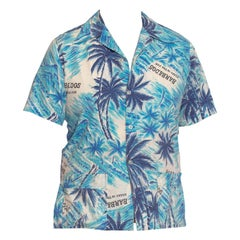 1960S Blue Cotton Men's Barbados Tropical Scenic Hawaiian Shirt