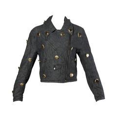 Moschino Vintage Quilted Denim Biker Jacket with Bottle Cap Appliques
