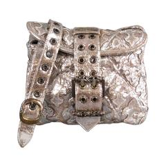 CHROME HEARTS Metallic Silver Quilted Textured Leather Buckle Shoulder Bag