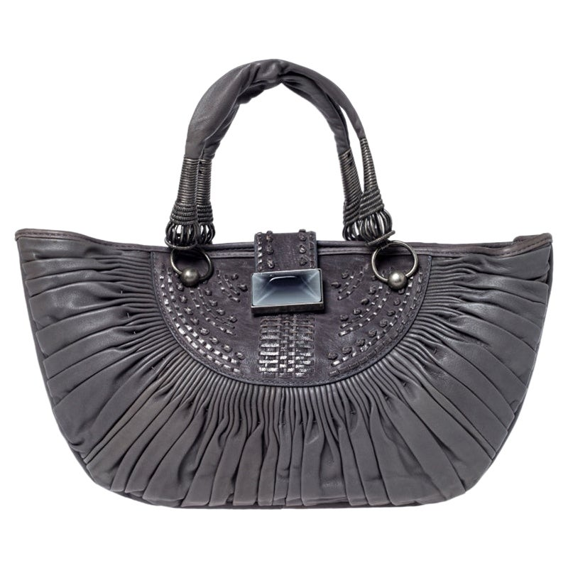 Dior Grey Pleated Leather Plisse Tote