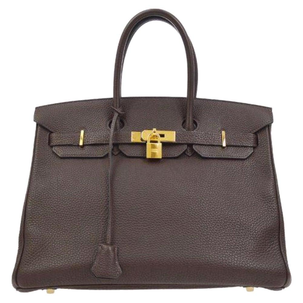Hermes Birkin 35 Dark Brown Leather Gold Carryall Top Handle Satchel Tote in Box