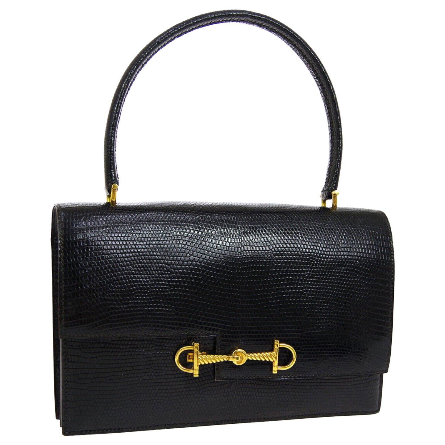 Hermes Black Exotic Lizard Gold Evening Kelly Style Top Handle Satchel Bag