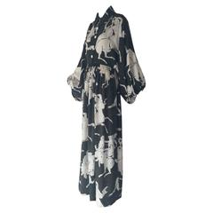 1970s James Galanos Satyr Print Balloon Sleeved Button-Down Silk Maxi Dress