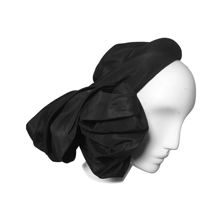 1950s Lilly Dache Couture Silk Taffeta Cocktail Hat w/ Side Bow 1