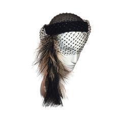 1950s Bead Net and Velvet Cocktail Hat w/ Blush Ostrich Feather Drape Trim