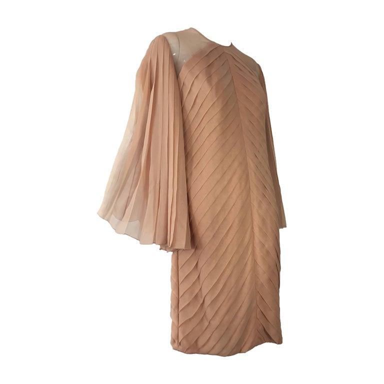 1980s Galanos Peach Blush Silk Chiffon Pleated Dress w/ Fan Sleeves