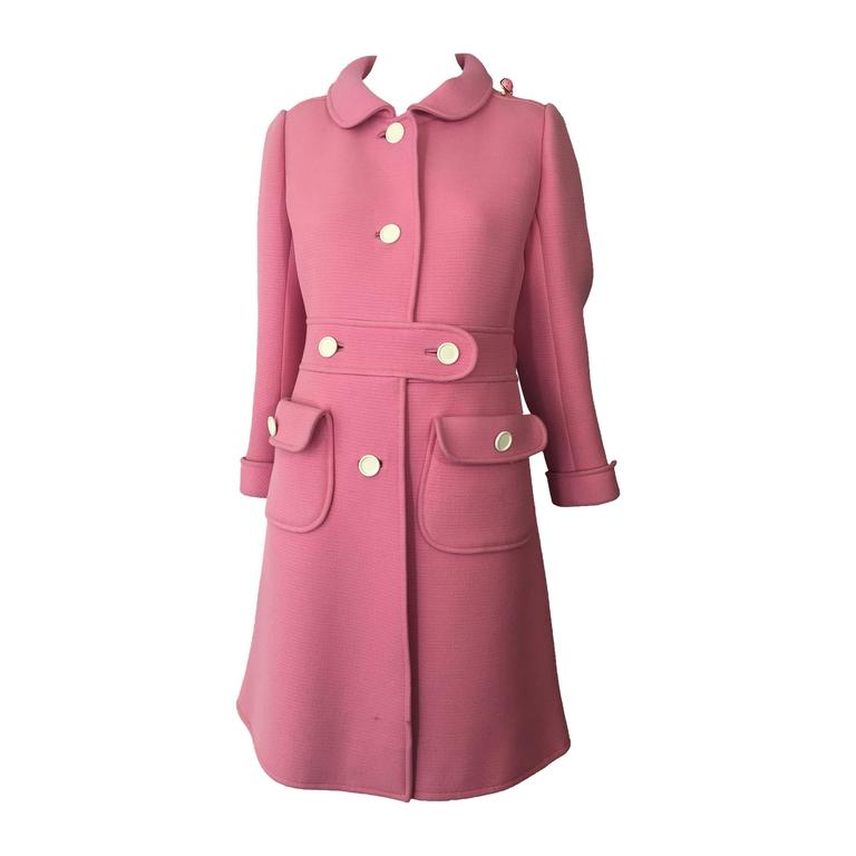 1960s Courreges Pink Wool Mod Coat with White Buttons 1