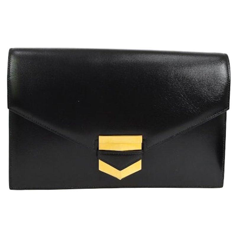 Hermes Black Leather Gold Emblem Evening Envelope Clutch Flap Bag