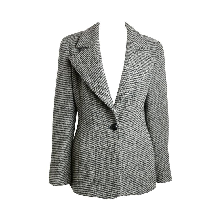 Chanel Classic Wood Black and White Tweed Blazer 1