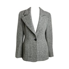 1994 Chanel Classic Wood Black and White Tweed Blazer