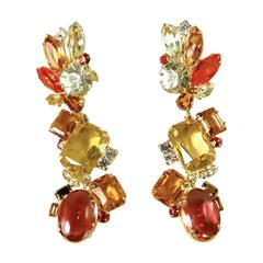 Robert Sorrell Citrine Crystal Dangling Earrings