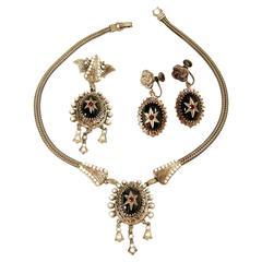 Vintage Art Deco Czech Pendant Necklace, Earrings & Brooch Pin