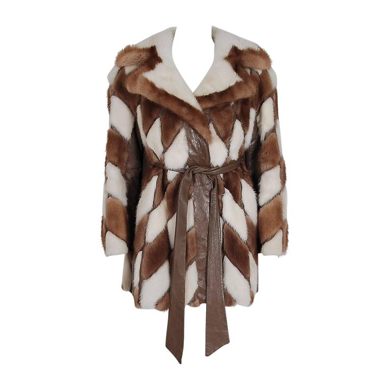 1960's Gorgeous Ivory-White & Brown Patchwork Mink-Fur Leather Belted Jacket