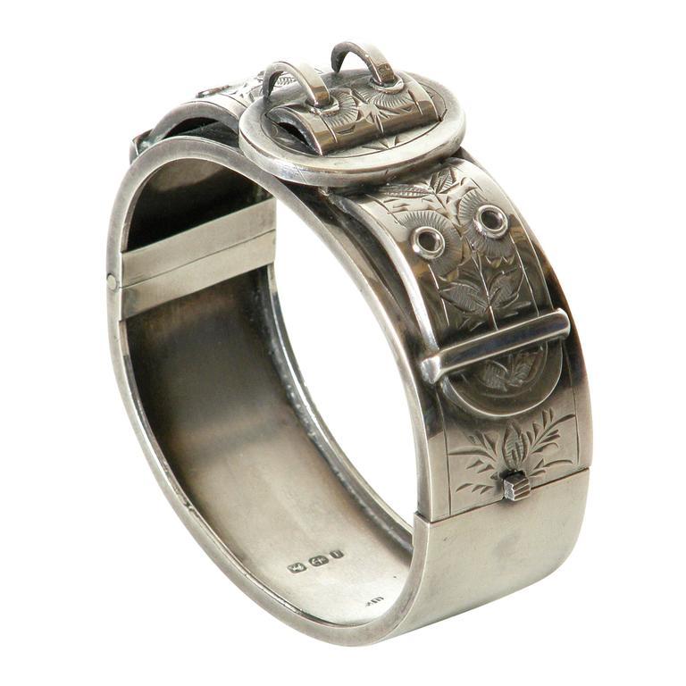 Victorian Sterling Buckle Bracelet For Sale