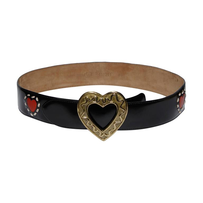 Moschino by Redwall Vintage Leather Heart Belt For Sale