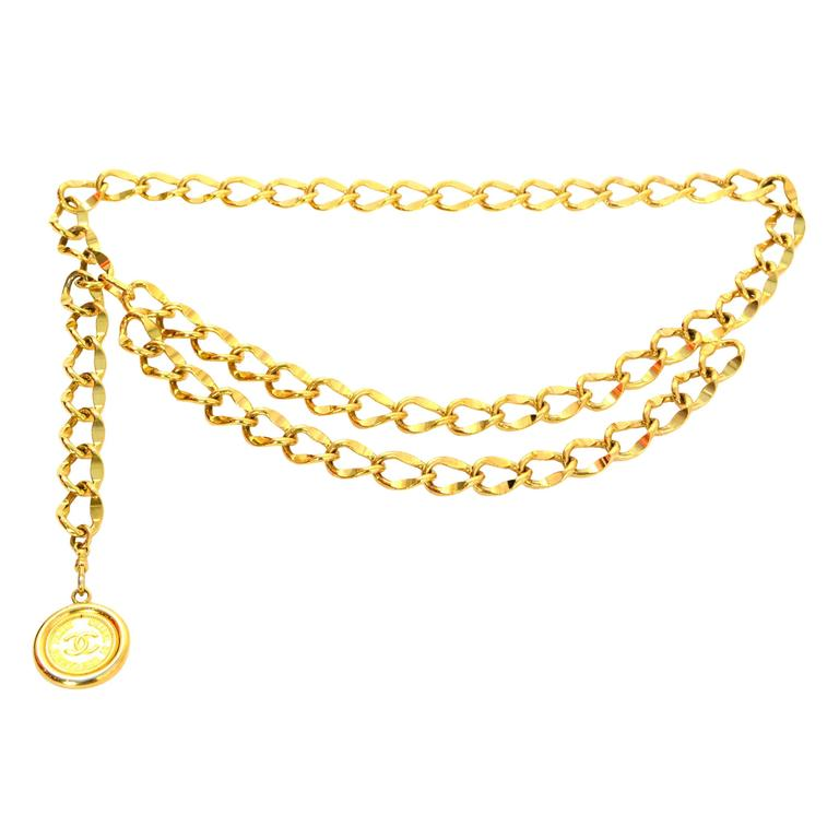 Chanel Gold Chain Link Medallion Belt For Sale