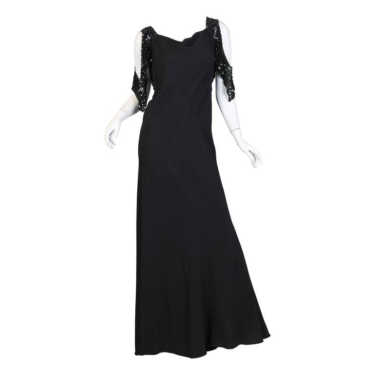 Bias Cut 1930s Gown with Sequin Sleeves For Sale