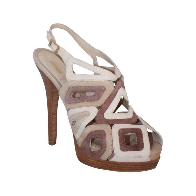 58c4083c328 Fendi Earth Tones Suede Cutout Multi Tone Open Toe Slingback Platform Heel  - 41 For Sale