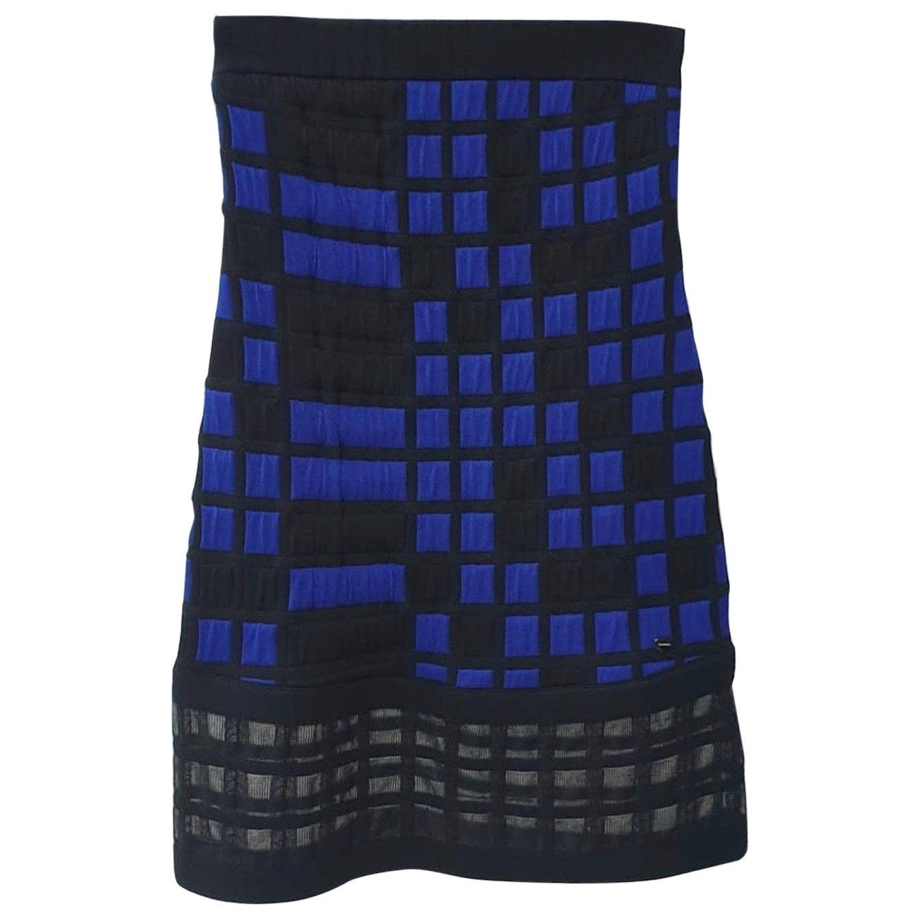 CHANEL 2013 Blue Black Checkered Dress